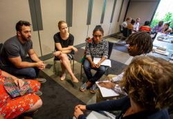Participants discuss issues at the 2018 Australia-PNG Emerging Leaders Dialogue in Cairns, Australia. 6 December 2018